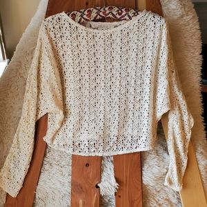 Zara Cream Knit Dolman Sleeve Crop Top